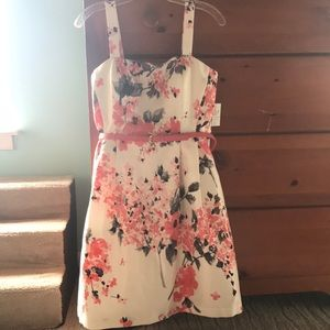 Coral, black and white dress